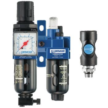 Filtre régulateur lubrificateur 2 blocs avec un raccord rapide de sécurité PREVOST KTBSM1ES