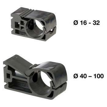 5 colliers de fixation pour tubes PREVOST de diamètre 20mm filetage M8 PPS1 CI20