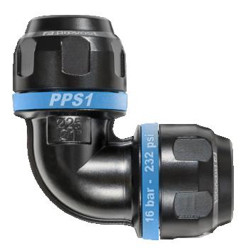 Coude égal 90° en aluminium pour tubes PREVOST de diamètre 16mm PPS1 9C16