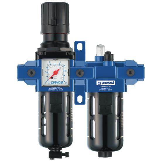 Filtre régulateur lubrificateur 2 blocs avec connexions rapides PREVOST TBPSM3