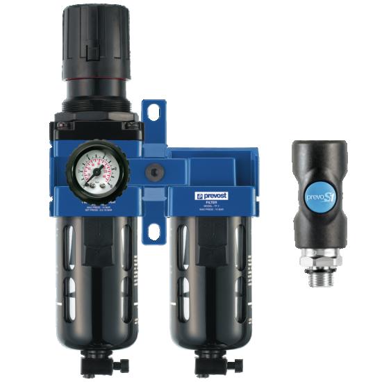 Ensemble micro-filtre avec régulateur et un raccord rapide de sécurité PREVOST KTBCSM3IS