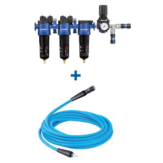 Ensemble de filtration et régulation pour pistolets de peinture à base aqueuse avec rallonge PREVOST FHKIS02